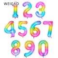40 дюймовые гигантские градиентные радужные шары из фольги с цифрами конфетных цветов 0 1 2 3 4 5 6 7 8 9 18 лет декор для вечеринки в честь рождения ...