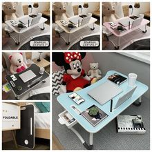 Folding Laptop Stand Holder Study Table Desk Wooden Foldable Computer Desk for Bed Sofa Tea Serving Table Stand