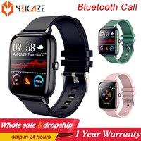 Reloj inteligente P6 para hombre y mujer, pulsera completamente táctil con Bluetooth, llamadas, rastreador deportivo de ritmo cardíaco, para Android IOS