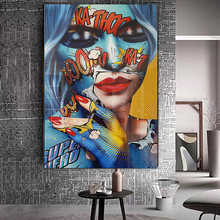 Граффити красочная женщина картина маслом на холсте Куадрос