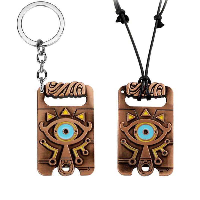 Jogo the legend of zelda respiração do selvagem cosplay acessórios sheikah ardósia pingente chaveiro colar