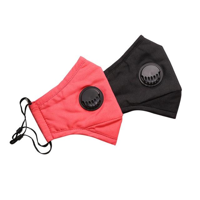 Fashion Unisex Cotton PM2.5 Breath Valve Mouth Mask Activated Carbon Filter Face Mask Reusable Cotton Face Masks Mouth-muffle 3