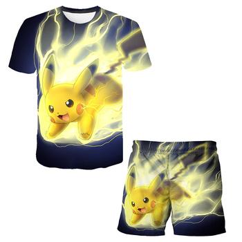 Najnowsza seria Pokémon chłopcy odzież dla dzieci letnie ubrania dla chłopców kreskówki dla dzieci chłopiec dziewczyna 3D odzież Pokemon zestaw t-shit + spodnie tanie i dobre opinie POLIESTER spandex Damsko-męskie 4-6y 7-12y 12 + y moda CN (pochodzenie) Lato Z okrągłym kołnierzykiem Zestawy Brak Tshirts and Pants