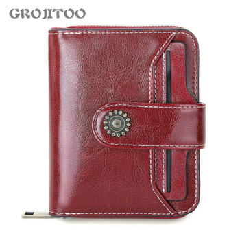 GROJITOO 2020 New genuine leather female wallet short student multifunctional mini coin purse driving license - discount item  42% OFF Wallets & Holders