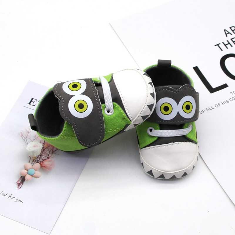 Oeak novo engraçado grandes olhos infantis do bebê meninos dos desenhos animados sapatos de lona antiderrapante respirável sola macia anti-deslizamento da criança sapatos bonitos