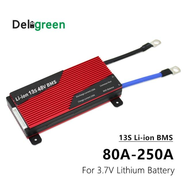 Batería de litio de 3,7 V para bicicleta eléctrica, BMS 13S 80A 100A 120A 150A 200A 250A PCM/PCB/BMS para 54,6 V 48V, paquete de batería de ion de litio 18650 para bicicleta eléctrica/UPS