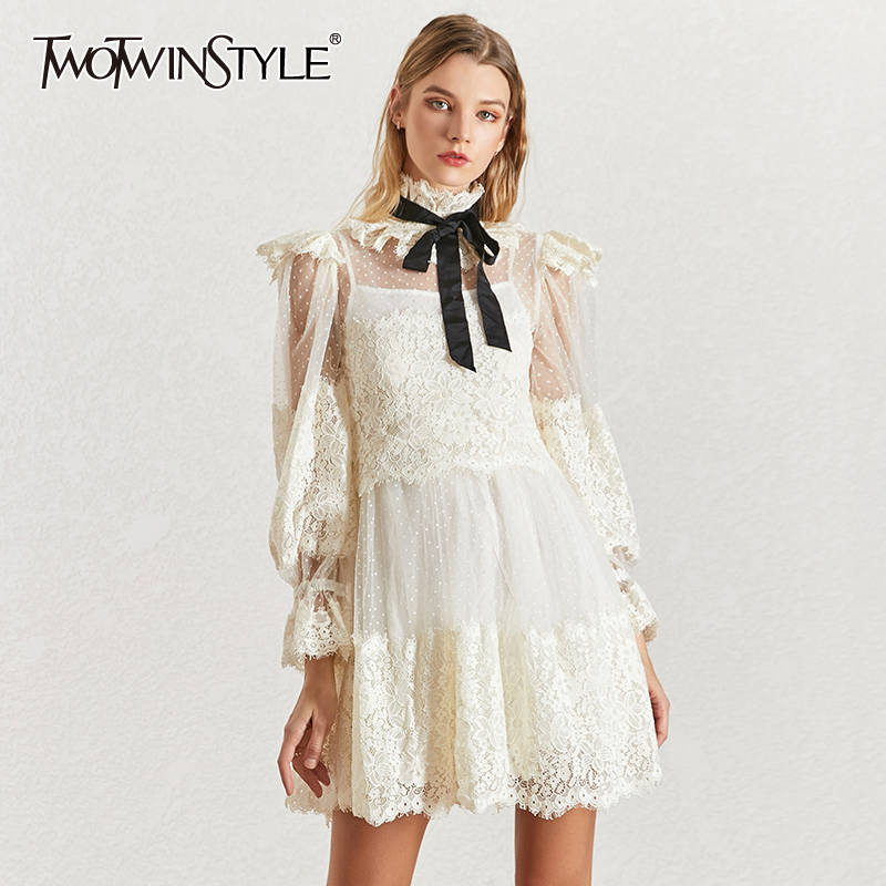 TWOTWINSTYLE Mesh Lace Patchwork Women's Dress Stand Collar Lace Up Lantern Sleeve High Waist Dresses Female 2019 Sexy New