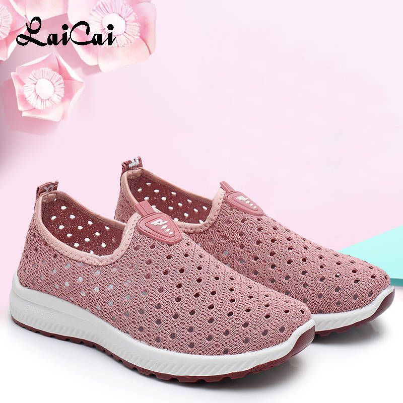 Mesh Shoes Women Summer Old Beijing Cloth Shoes Women's Shoes Breathable Hollow Mesh Casual Sneakers Women Middle aged Mom Shoes
