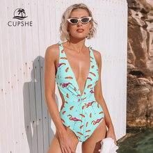 CUPSHE Mint zielone różowe flamingi wysokie nogi Cut jednoczęściowy strój kąpielowy kobiety Twist Bowknot strój kąpielowy strój kąpielowy Monokini