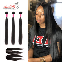 Arabella Hair-Bundles Closure Remy Brazilian Straight with Lace 2--6 Pre-Plucked Bleached
