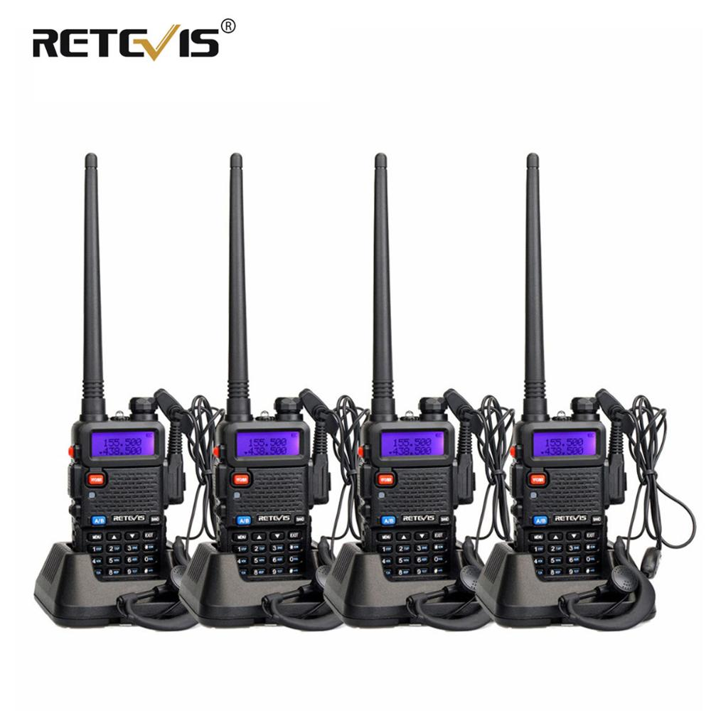 Retevis RT-5R Walkie Talkie 4pcs RT5R Radio Station 5W 128CH VHF UHF Dual Band FM Radio VOX Two-way Radio Portable Comunicador