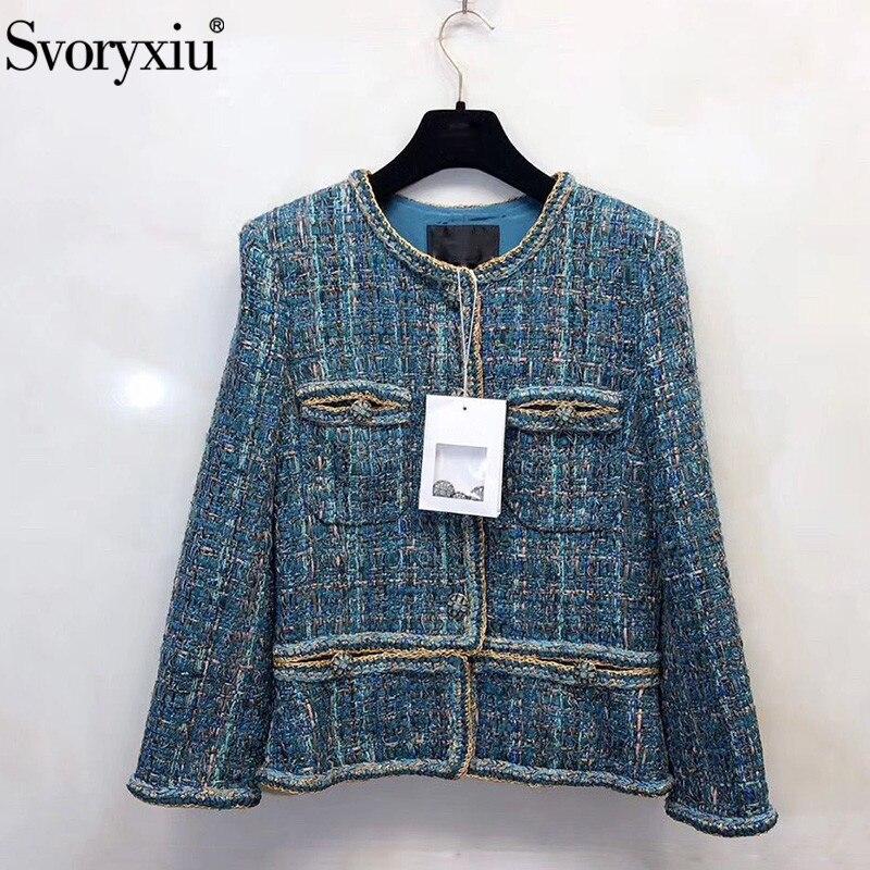 Kadın Giyim'ten Basic Ceketler'de Svoryxiu Tasarımcı Sonbahar Kış High End Iplik Tel Tüvit Tavuskuşu Mavi Dış Giyim Ceket kadın Ipek astarlı Ceket Ceket'da  Grup 1