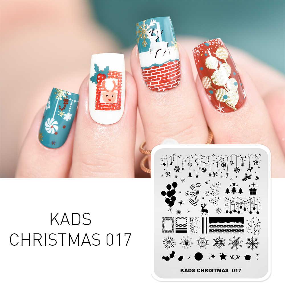 KADS ใหม่คริสต์มาสแสตมป์แสตมป์แม่แบบเล็บปั๊มแผ่นภาพเล็บออกแบบความงามเครื่องมือสำหรับเล็บ 3D การพิมพ์