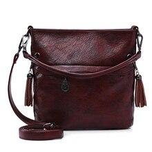لينة الرجعية حمل النفط الجلود دلو كيس حقيبة يد فاخرة النساء حقائب مصمم السيدات الكتف Crossbody حقائب اليد للنساء 2020