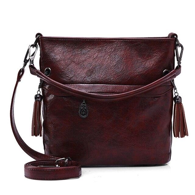 Soft Retro Tote Oil Leather Bucket Sac Luxury Handbags Women Bags Designer Ladies Shoulder Crossbody Hand Bags for Women 2020