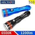 ARCHON S10 1200 lumen plongée éclairage lampe de poche sous marine 100m étanche torche plongée lumière projecteur lumières 18650 batterie