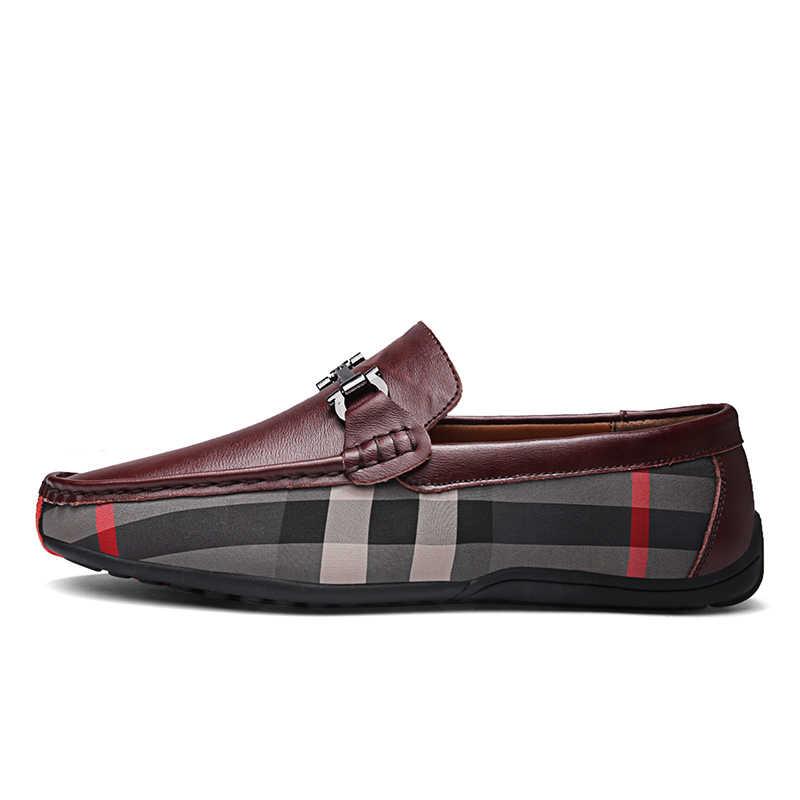 2019 Erkekler Rahat deri ayakkabı Erkek Flats Nefes Loafer sürüş ayakkabısı Bot Ayakkabı Büyük Boy Erkek Mokasen Ayakkabı üzerinde Kayma