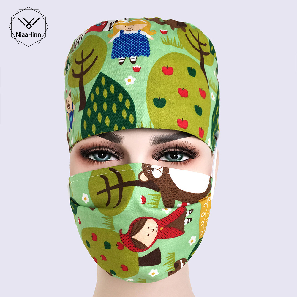 New Lab Hospital Medical Surgical Cap SPA Beauty Salon Medical Scrub Operation Hats Lab Clinic Hat Doctor Nurse Print Scrub Cap