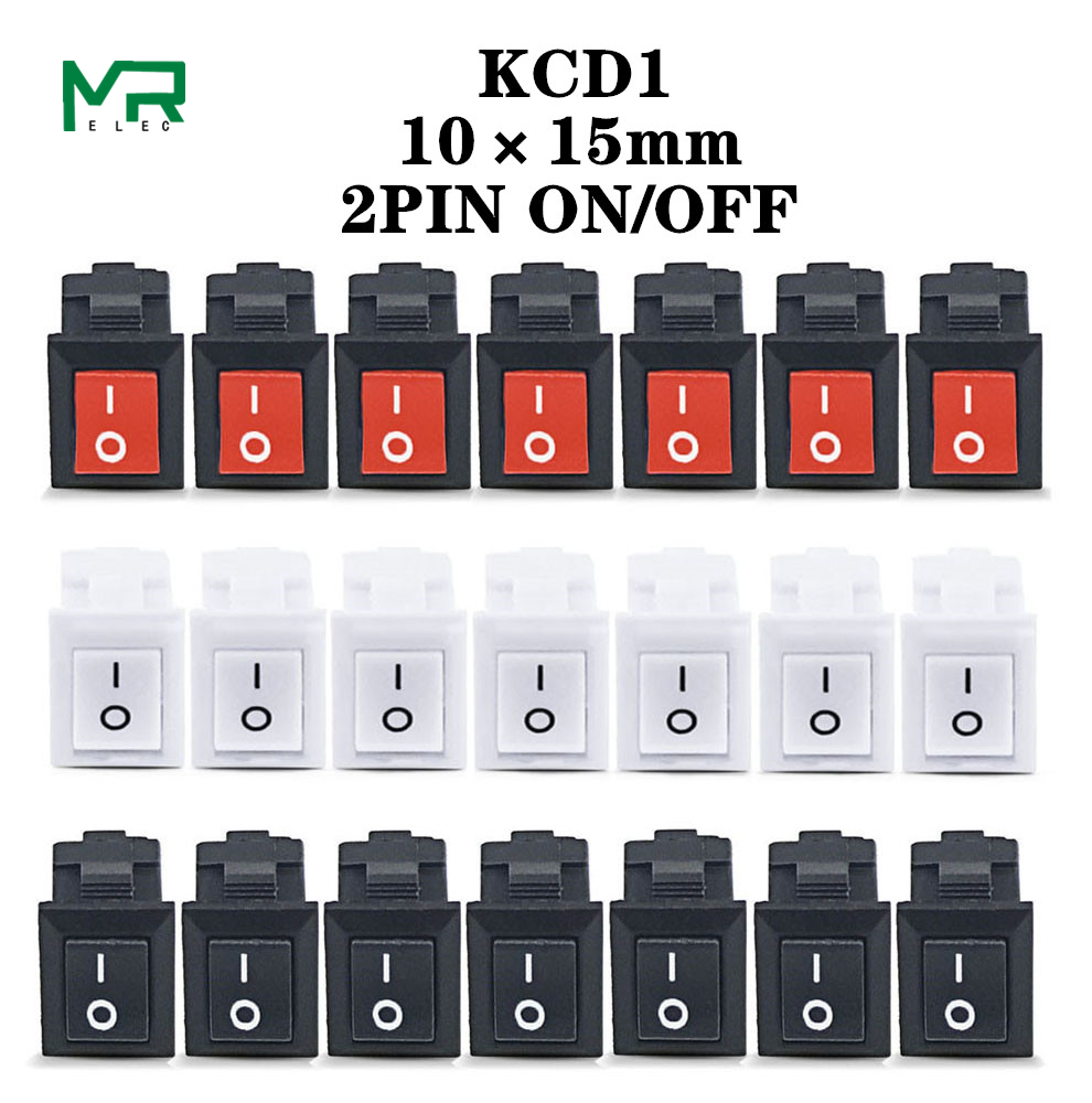 KCD11-101 3A/250V small black 10*15mm SPST 2PIN ON/OFF G130 Boat Rocker Switch Car Dash Dashboard Truck RV ATV Home image