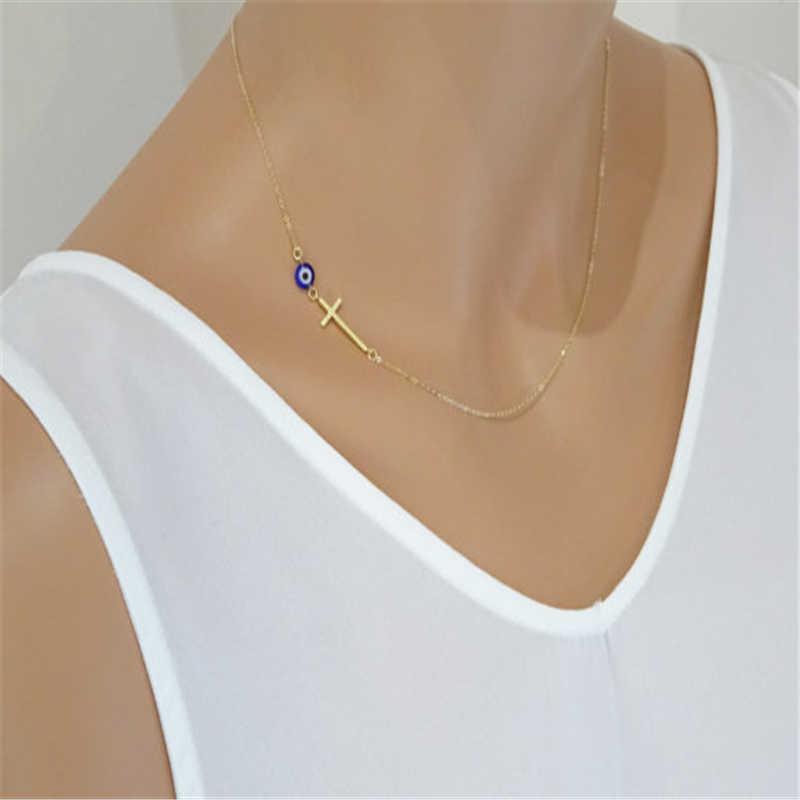 Fashion Blue Eye Cross Pendant Necklace Women Gold Chain Statement Necklace Personalized Silver Choker Jewelry Clavicle Choker