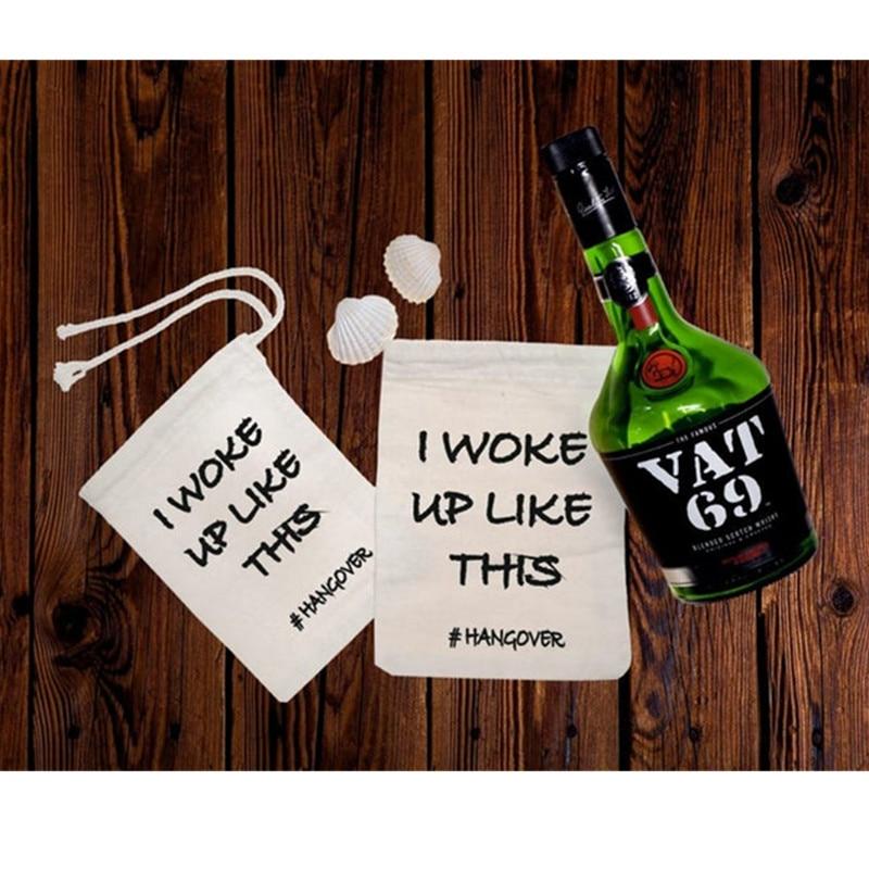 I Woke Up Like This Kit Custom Bachelorette Favor Bag Bridesmaid Hangovers Bag Wedding Cotton Drawstring Gift Bag Recovery Kit