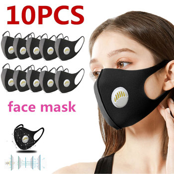 10 Pcs Face Mouth Mask Anti-Infection Virus Activated Carbon Filter Mouthmask Unisex Anti-dust Mouth Facemask Washable Reusable