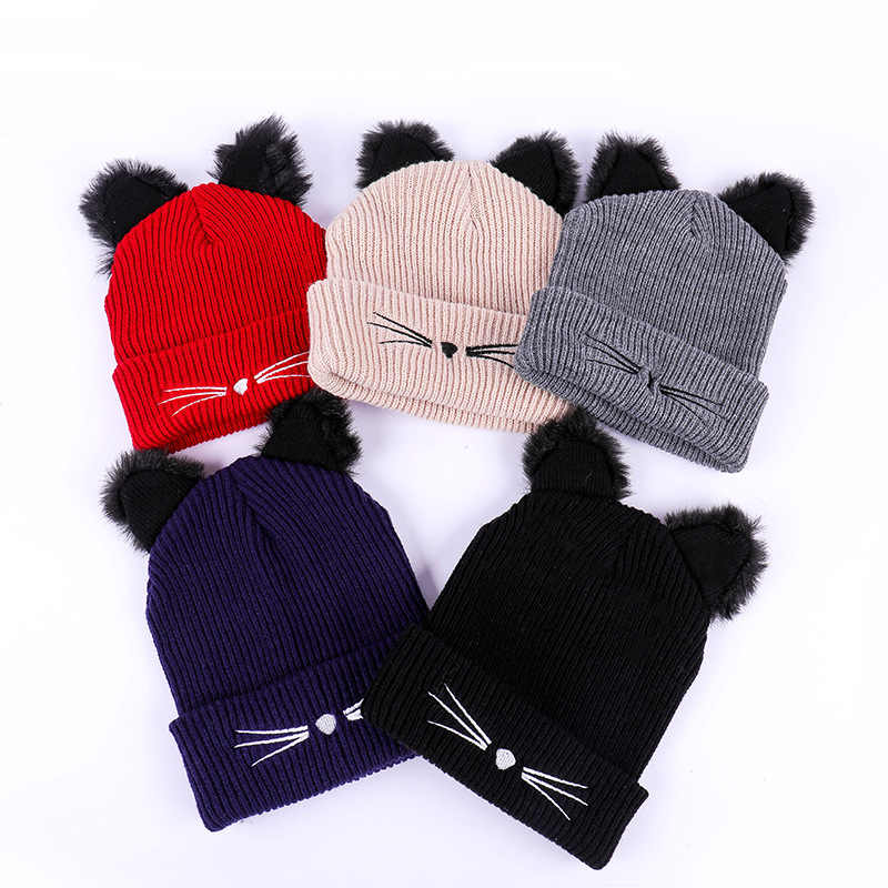 Cat Ears Women Hat Knitted Warm Crochet Winter Wool Knit Ski Beanie Skull Slouchy Caps Hat Cute Fashion Outdoor Snowing Cap