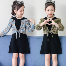 Girls Clothing 2019 New Fake Plaid Shirt Dresses Year Costume Fashion Clothes Design Kids For Girl 4-13Y