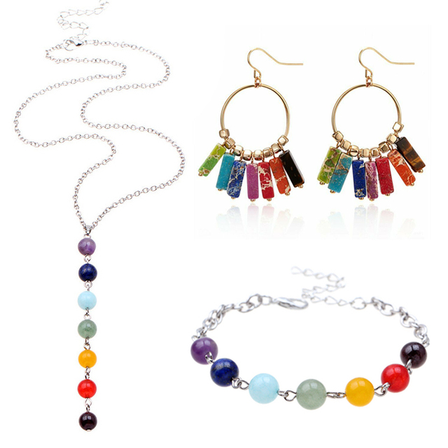 7 Chakras Yoga Women Jewelry Sets Healing Reiki Rainbow Chips Earrings Bracelet Necklaces Pendants Natural Gem Stone Mala Beads