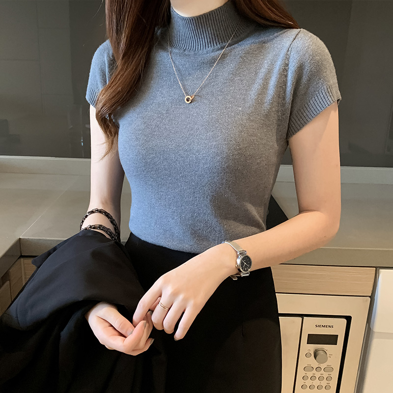 HELIAR Women Knitted T-shirts Turnelneck Tees Plain Solid Knitted Short Sleeve T-shirts 2020 Summer Casual O-neck T-Shirts Women
