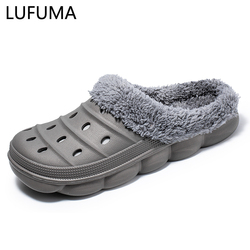 Men Slippers High Quality PU Leather Winter Home Slippers Short Plush Flat Heel male Slipper Warm Indoor Slide Casual Shoes Men