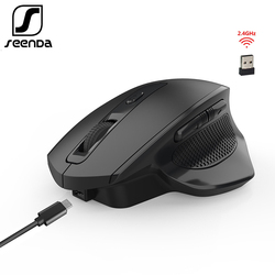 SeenDa Rechargeable 2.4G Wireless Mouse 6 Buttons Gaming Mouse for Gamer Laptop Desktop USB Receiver Silent Click Mute Mause