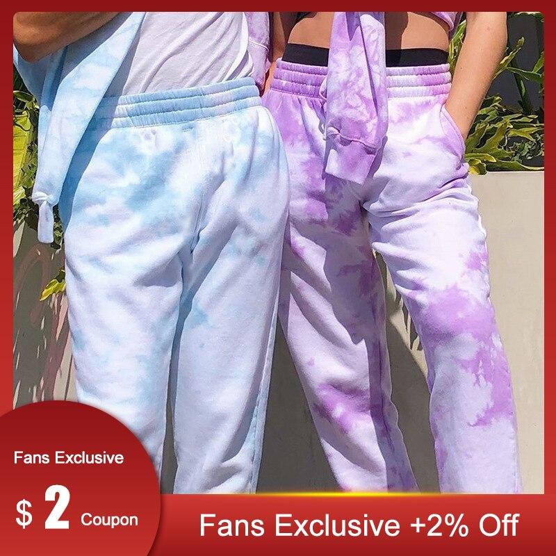 Chicology Neon Tie Dye Joggers High Waist Long Baggy Pants Women Sweatpants Loose Trousers 2020 Autumn Winter Streetwear Clothes
