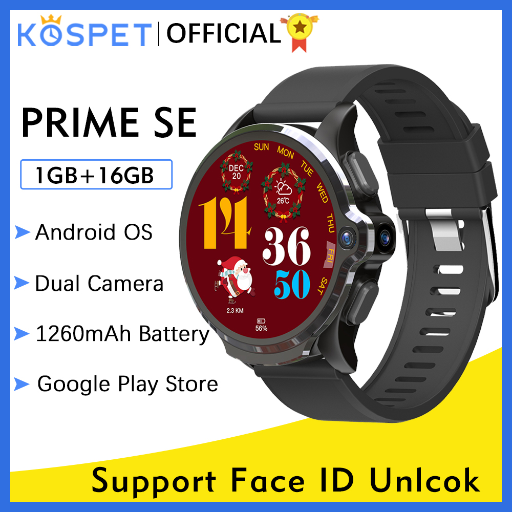 KOSPET Prime SE 1GB 16GB relogio inteligente smart watch Men 1260mAh Camera Face ID 4G Android GPS Smartwatch 2020 For Xiaomi 1