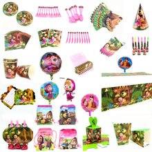 Masha de dibujos animados, suministros para fiestas temáticas, plato y vaso de papel, servilleta, bandera, sombrero, Pajita, vajilla desechable para fiesta de cumpleaños