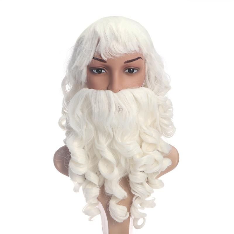 New Arrival Christmas Santa Claus Beard And Wig Set Costume Santa Beard And Wig For Christmas Cosplay Xmas Supplies A35