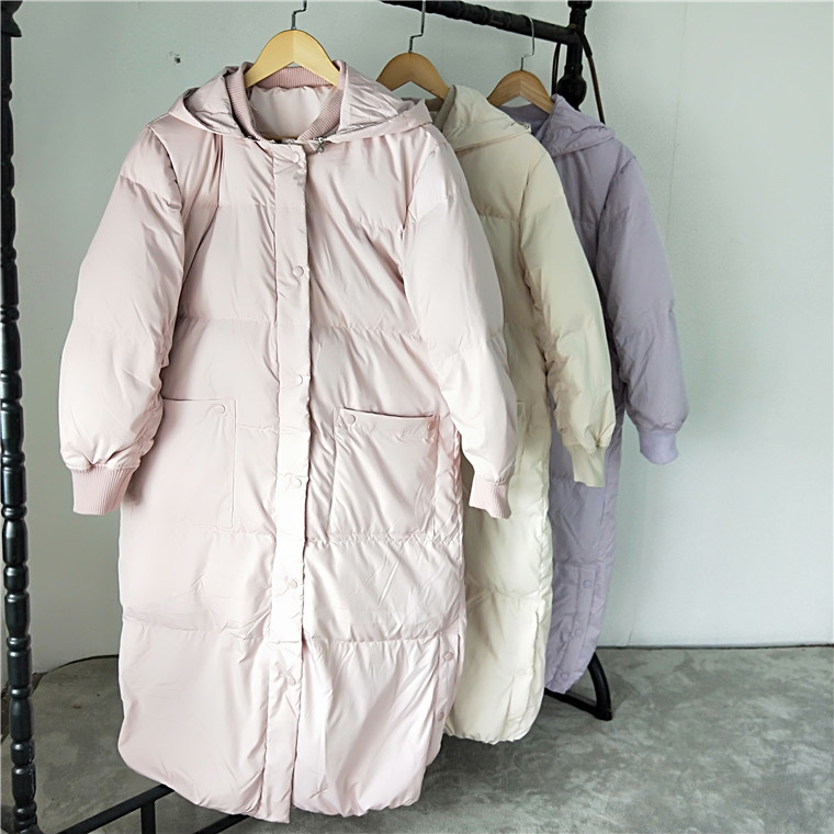 Coat Winter Long Women Down Coat Korean Hooded White Duck Down Jacket Women Puffer Jacket Warm Parka Casaco YY1512