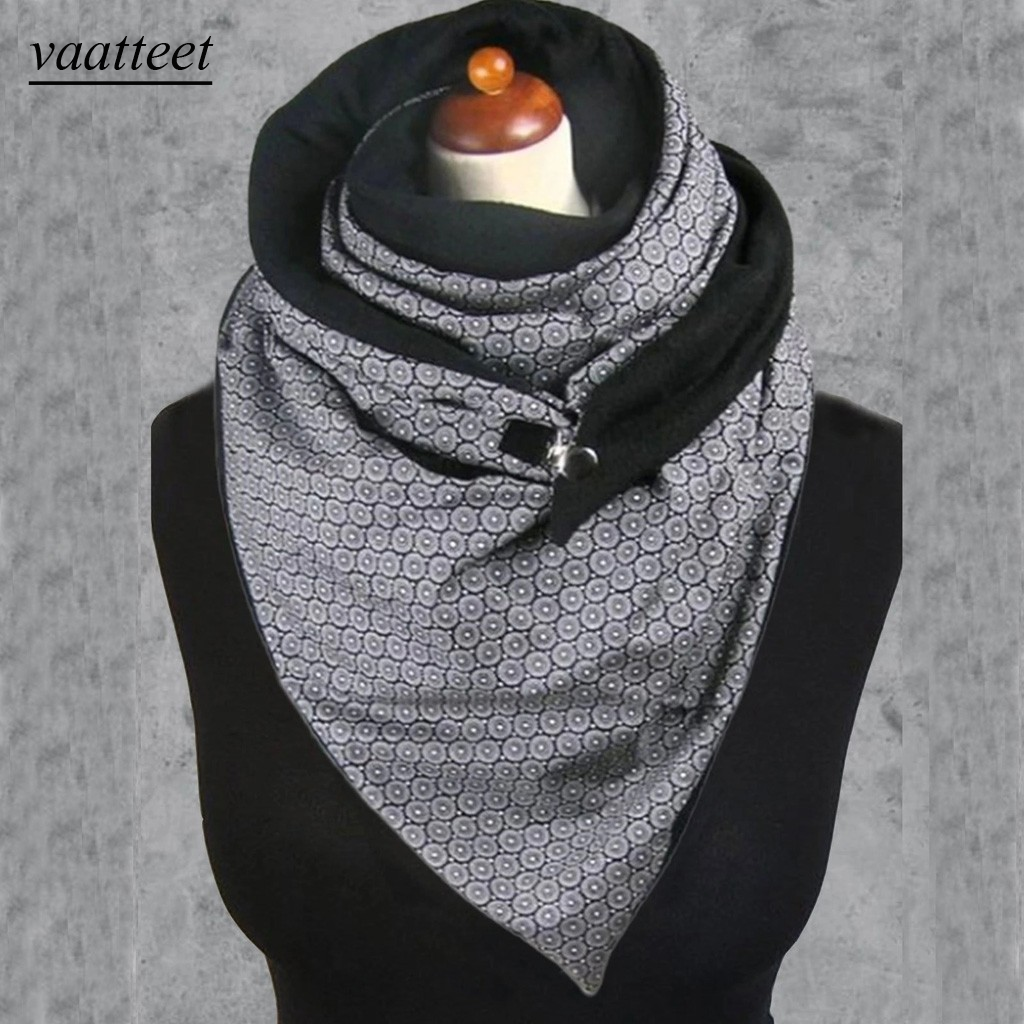 Fashion Women Soild Dot Printing Button Soft Wrap Casual Warm Scarves Shawls