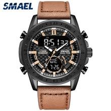 SMAEL אופנה גברים שעון עסקי קוורץ שעוני יד עמיד למים 3Bar מזדמן עור רצועת ספורט שעונים Relogio Masculino 1407