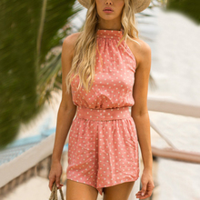 2019 Summer Beach Halter Backless Rompers Women Polka Dot Belted Playsuits Rk #E