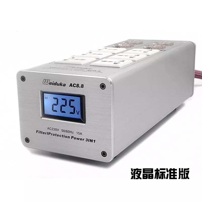 NEW LED Display Audio Power Filter 3000W 15A Purifier Lightning Protection