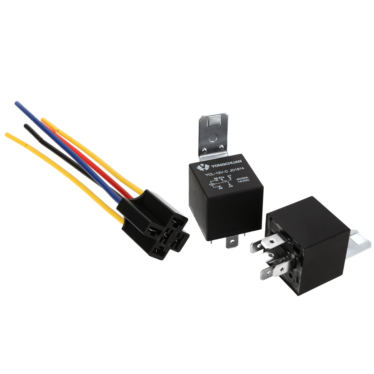 5 Set 12V <font><b>DC</b></font> Car Relay <font><b>40A</b></font> Relay & Socket SPDT 5 Pin with 5 Wires <font><b>12</b></font> Volt For Automobile Truck Accessories image