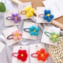 2019 New INS Fashion Winter Wool Flower Hair Clips For Girls Children Barrettes Cute Baby BB Hairpins Headwear Accessories