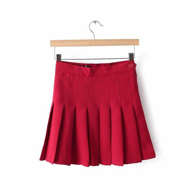 ファッション女性のセクシーなプリーツミニスカート女子高生スケーターテニススカートハイウエストフレア白、赤の女性ショート夏スカート