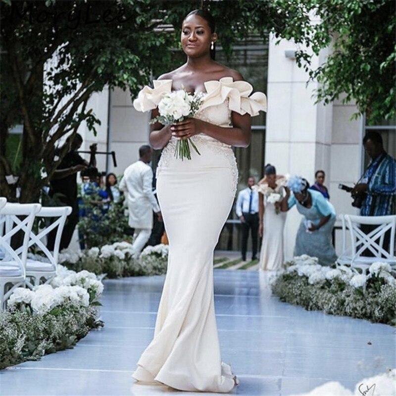 Ivory Bridesmaid Dresses Floor Length Sweep Train