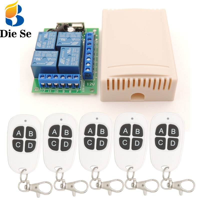 rf <font><b>Remote</b></font> Control System 433MHz Universal Wireless Switch DC12V 4CH Relay <font><b>Receiver</b></font> <font><b>Module</b></font> with <font><b>Key</b></font> fob transmitter for car trunk image
