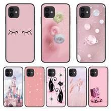 Castelo gato rosa estilo capa de telefone para o iphone 12 pro max 11 8 7 6 s xr plus x xs se 2020 mini preto celular escudo
