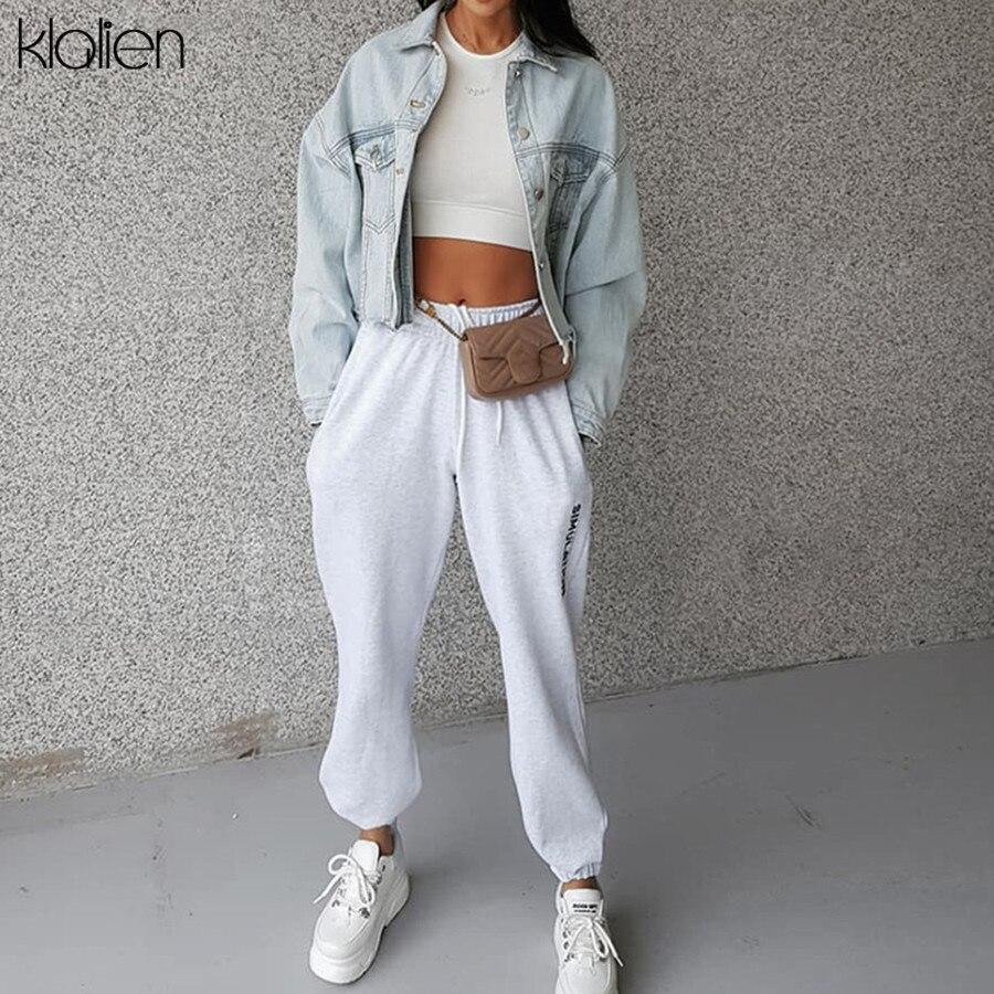 KLALIEN Elastic High Waist Drawstring Letters Print Trousers Female Fashion Streetwear Pants 2019 Autumn Winter Women Long Pants