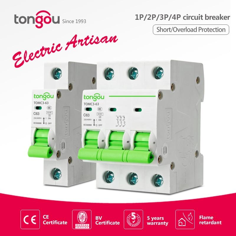 2 1P P P P 6A 4 3 10A 16A 20A 25A 32A 40A 50 63A Curva C MCB 110V 220V TOMC3-63 4.5KA AC Mini Circuit Breaker