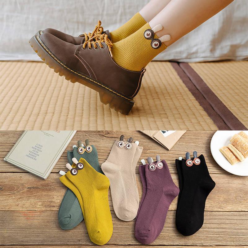 Summer New Ladies Socks Socks Candy Color Pile Socks Socks Bow Tie Big Eyes Short Tube Socks Women Socks Happy Funny Socks